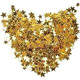Pengxiaomei 30 g / 1 oz Gold Star Confetti, Plastic Glitter Foil Stars Sequin for Party Decorations
