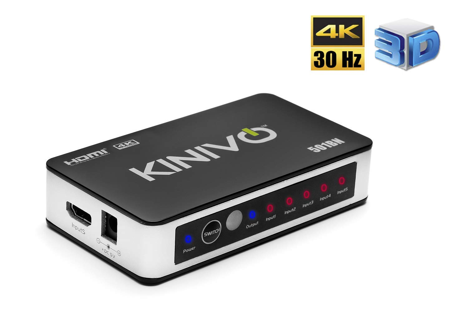 Kinivo 501BN 5-Port High Speed 4K 30Hz HDMI Switch With IR Wireless Remote And AC Power Adapter - For Xbox 360/One, PS4/PS3, Nintendo Switch, Blu-ray Player, Apple TV, Roku etc