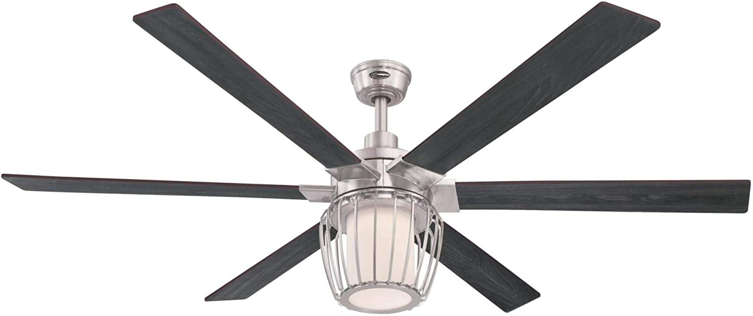 Westinghouse Lighting 7225000 Willa Indoor Ceiling Fan with Light and Remote, 60 Inch, Brushed Nickel