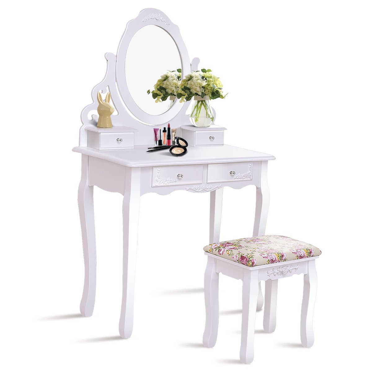 Giantex White Bathroom Vanity Dressing Table Set Mirror with Stool (Round Mirror 4 Drawers)