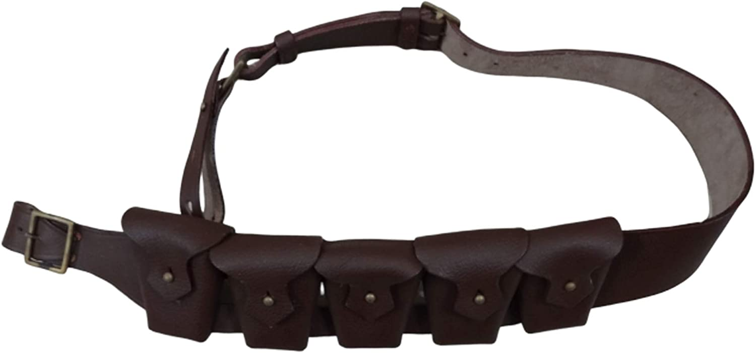 Ultimate Arms Gear Tactical Militaria British Army Infantry Military Reproduction Genuine Leather Brown 5 Five Pocket Pouches P1903 1903 WW1 WWI & WW2 WWII Ammo Clips Rounds Shoulder Rig Bandolier 61n7AaxblOL