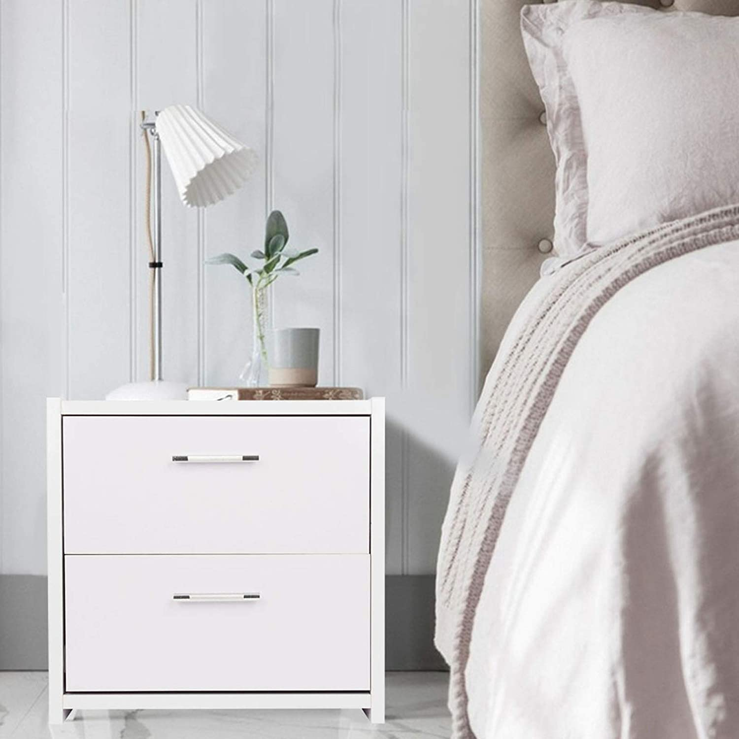 Quieting White Bedside Table Wooden Nightstand Unit Cabinet 2 Drawers QD