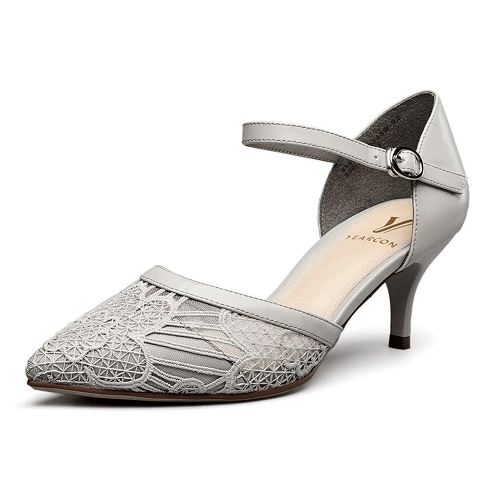WYYY Damenschuhe High Heels Wortabzug Net Garn Gut mit Flacher Mund Spitze Freizeitschuhe 5,8 cm (Farbe   Hellgrau, Größe   EU36 UK3.5)