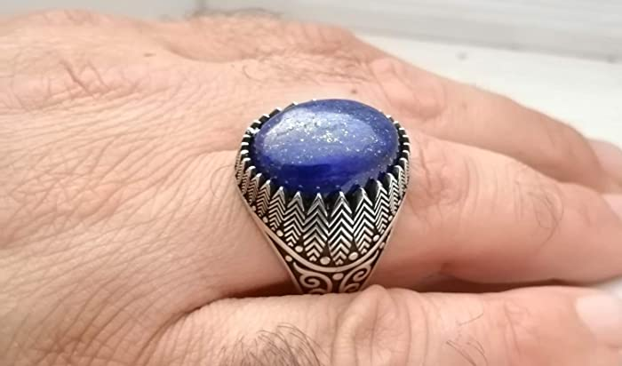Details about  /Men/'s 925 Sterling Silver Lapis Lazuli Ring Eagle Design Wedding Jewelry TM030