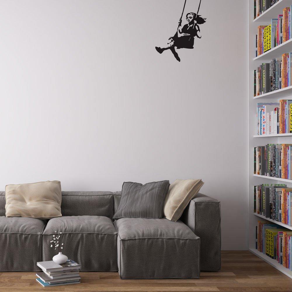 Amazon.com: Vinyl Revolution Banksy Girl Swinging Wall Art Decal: Home U0026  Kitchen