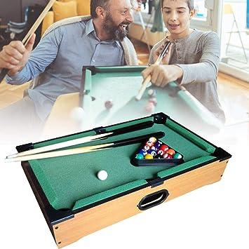 Juego de billar de mesa portátil de madera para juegos Con bolas de resina y tacos de billar Juego de entretenimiento para toda la familia: Amazon.es: Hogar