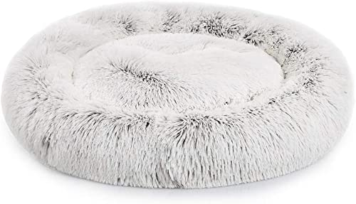 Richgra Faux Fur Dog Beds for Dogs – Self Warming Indoor Round Pillow, Cat Cushion Bed, Pet Beds Cozy Fur Donut Cuddler Improved Sleep