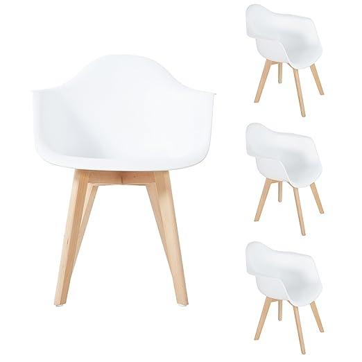 DORAFAIR Pack de 4 Sillón Tower Blanco Sillas de Comedor Silla Nordica Escandinava, Sillas Comedor Modernas con Las piernas de Madera de Haya Maciza