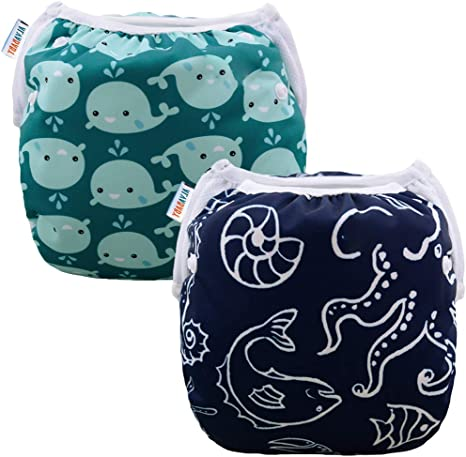 Alva Baby Swim Diapers 2pcs One Size Reuseable Washable /& Adjustable for Swimming Lesson /& Baby Shower Gifts DYK56-59