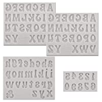 PRAMOO 4 Pieces Letters Molds and Numbers Molds, Silicone Alphabet Fondant Molds for Chocolate Covered Strawberries, Breakable Hearts, Cake Decorations, Including Lowercase Uppercase 0-9 Number (Gray)