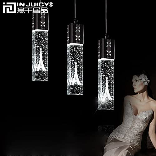 IJ INJUICY K9 Clear Crystal Column Bubble Pendant Light, Eiffel Tower Hanging Lamp for Dining Room, Restaurant, Cafe, Bar, Living Room, 1 Light Decor