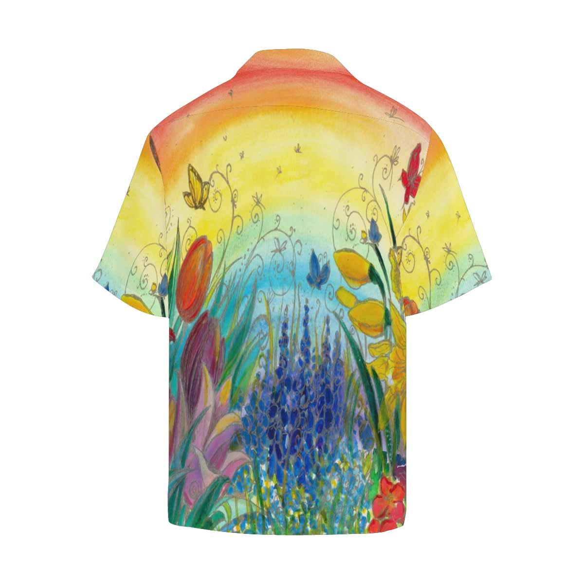InterestPrint Spring Flower and Rainbow Clothing Summer Clothes Short Sleeve Shirt