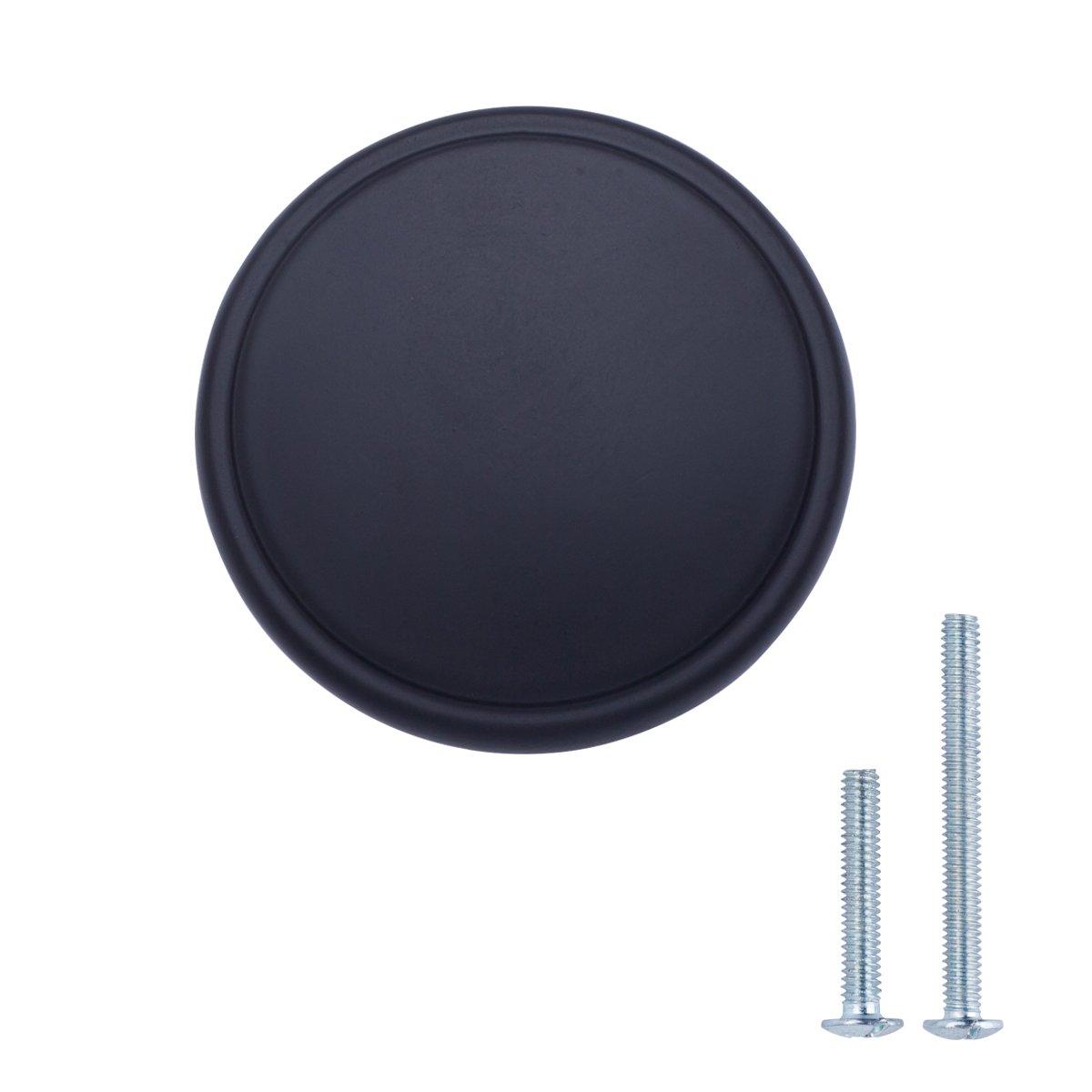 AmazonBasics Modern Wide Top Ring Cabinet Knob, 1.52'' Diameter, Flat Black, 25-Pack