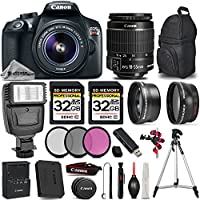 Canon EOS REBEL T6 DSLR Camera + Canon EF-S 18-55mm f/3.5-5.6 IS II Lens + Digital Camera Flash + 0.43X Wide Angle Lens + 2.2x Telephoto Lens -All Original Accessories Included - International Version