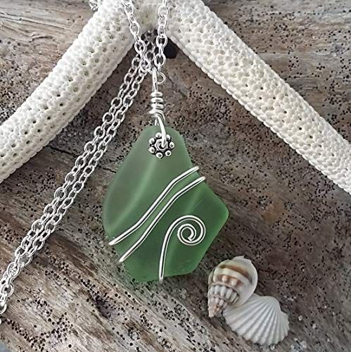 (Handmade in Hawaii, wire wrapped peridot green sea glass necklace,