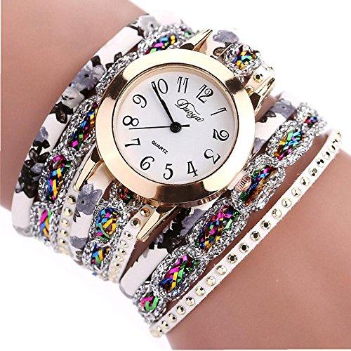 Willsa New Women's Luxury Bracelet Artificial Gemstone Quartz Wrist Watch Multicolor (Gold) (Gemstone Bracelet Multi Color Gold)