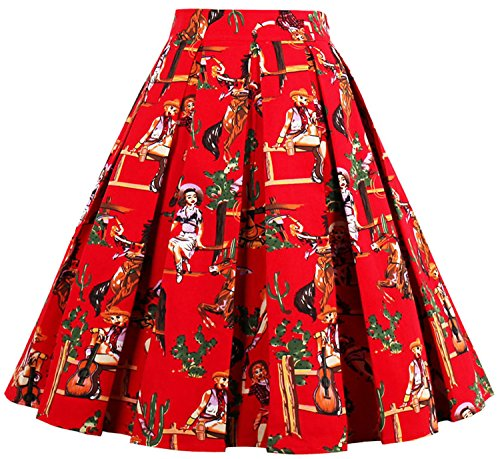 Print Flared Midi Skirt Knee Length Pleated A-Line Skirt WD 07 (Red Skirt, M) (Reds And Vintage Skirt)