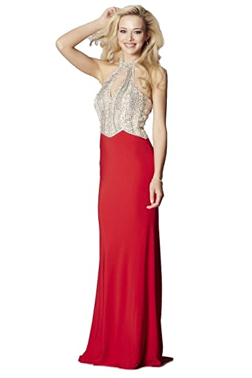 Tiffanys Illusion Prom Red Skirt Marlena Sparkling Bodice Dress UK 8 (US 4)
