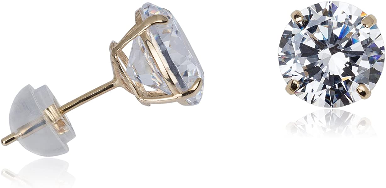 a187699e9 Silverluxe 14kt Gold Fine Cubic Zirconia Stud Earrings 4mm Round with 14kt  Silicone Backs