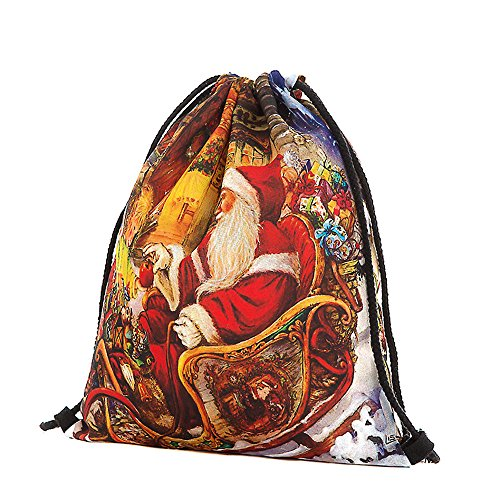 Price comparison product image HYIRI Big Christmas Candy Gift Bag Claus Snowman Printed Bags Backpack
