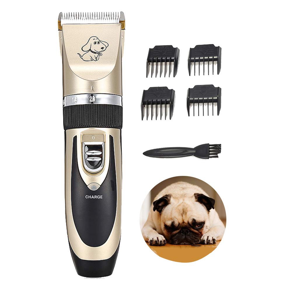 Pet Grooming Clippers, Low Noise Rechargeable Pet Hair Shaver, 5-Speed 4 Limit Comb, for Cats,Dogs,Small Animals