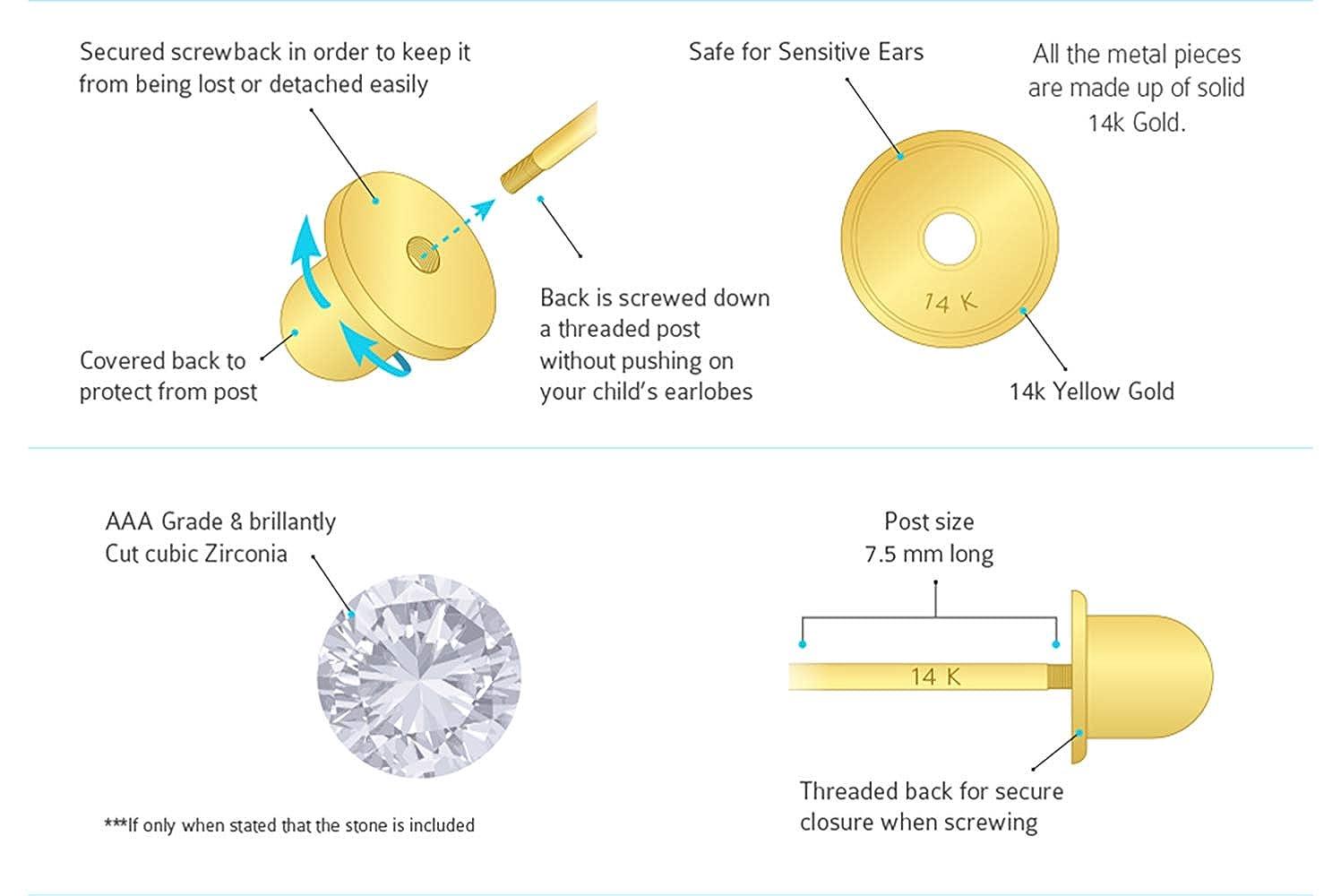 14k Yellow Gold Star Cubic Zirconia Children Screwback Baby Girls Stud Earrings