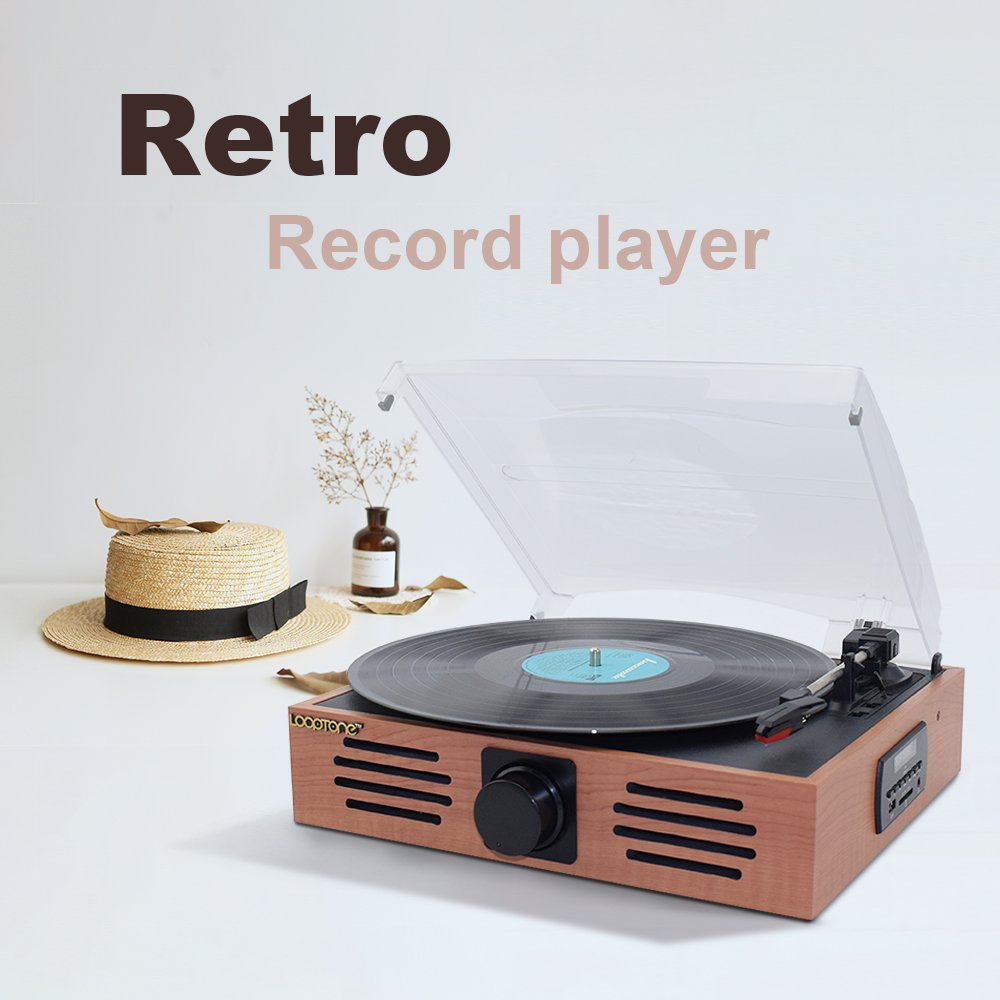 LoopTone 3-Speed Belt Drive Turntable with Speakers , Supports Stereo FM Radio , USB/SD Encode , Mp3 Playback , Headphone Jack and RCA line Output ,natural wood
