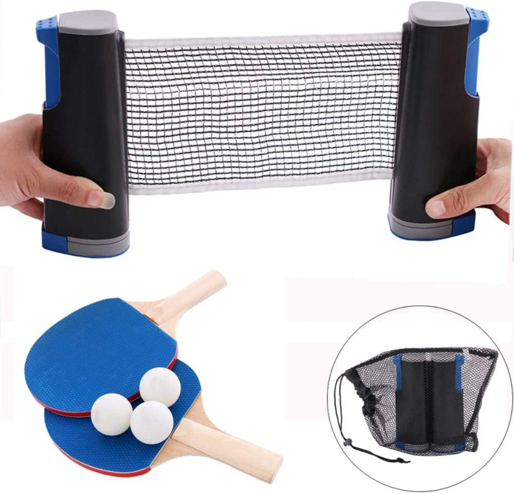 LFT Juego de Tenis de Mesa de Entrenamiento 1 Red 2 Palos 3 Pelotas Suministros portátiles de Ping Pong
