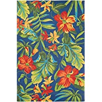 Couristan Covington Tropical Orchid Runner Rug, 26 x 86, Azure/Forest Green/Red
