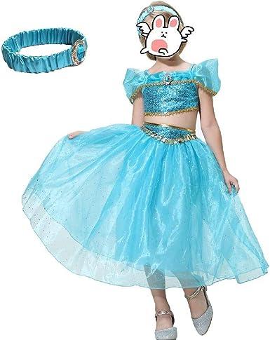KISY Aladdin Disfraz de Princesa Jasmine con Corona de Hada Azul y ...