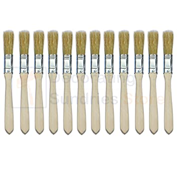 """5 Pack of 3/"""" Wide Disposable Throw Away Paint Brushes"""