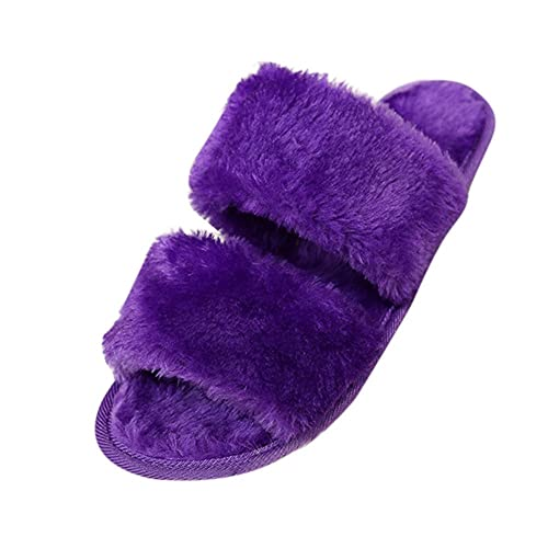 067cbf2ebf82 Theshy Shoes 2018 Unisex Men Women Slip On Sliders Fluffy Faux Fur Flat  Slipper PP 41
