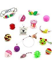 Kiao Jouet Pour Chats Pack 16 pièces-Jouet à Plume-Balles-Jouets à l'herbe-Jouet à Mâcher,etc