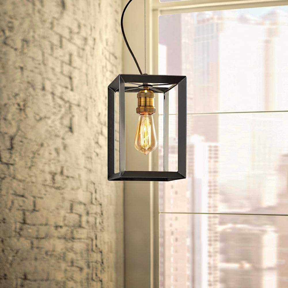 Home Decorators Collection HD-1549-I 1-Light Black Frame w/Antique Brass Socket