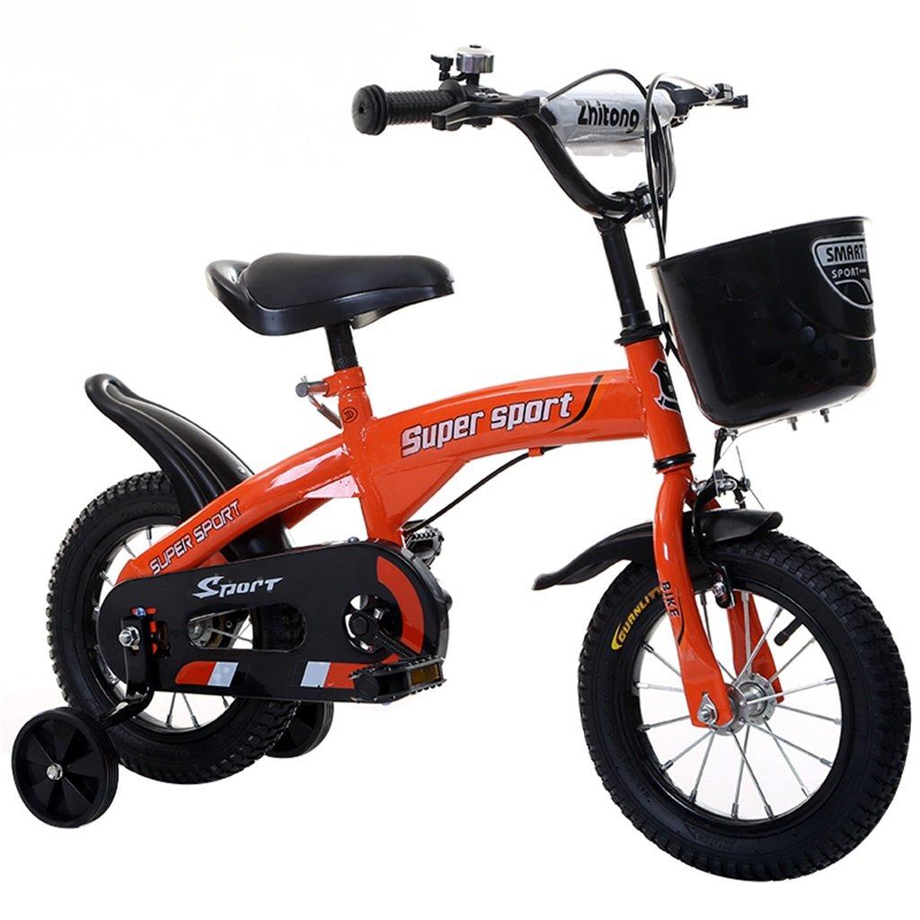 子供の自転車12|14|16|18インチ屋外の子供赤ちゃんキッドマウンテンバイク黒のトレーニングホイールで3-9歳の男の子の女の子のギフト|プラスチックバスケットセーフティオレンジ B078GRXT7C16 inches