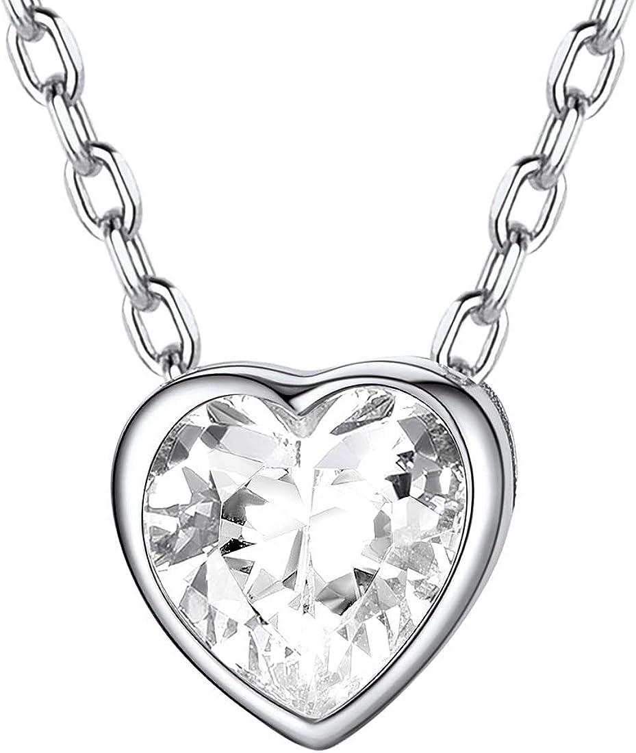 ChicSilver Collar Mujeres Infinito/Corazón/Latido ECG Colgante Hipoalergénico Plata de Ley 925 Joyería con Nombres Personalizables Regalo Romántico San Valentín