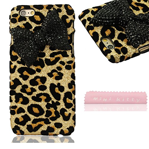 MIN KITTY Fashionable bow Animal Print black Bow-knot Protective Shell back hard Case Cover for iphone 6 plus 5.5 inch +free microfiber cloth
