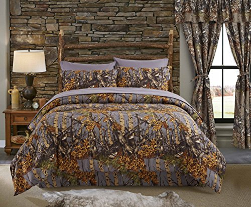 Regal Comfort The Woods Grey Camouflage King 4 Piece Premium Luxury Comforter, Bed Skirt, and 2 Pillow Shams Set - Camo Bedding Set For Hunters Cabin or Rustic Lodge Teens (Camouflage Pillow Sham)