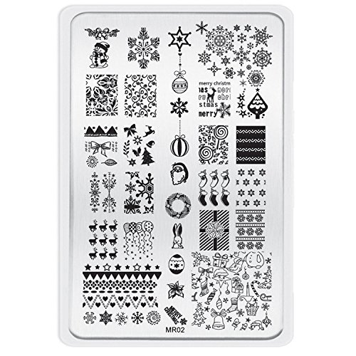 XLORDX New Nail art Plates Noël Halloween Image Stamping Manicure Plaque de Tampons Vernis Timbre MR02