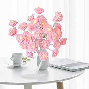 wnnyy Gifts for Women 24/36 Led Battery Operated Romantic String Rose Flower Fairy Lamp Light Outdoor for Great Décor for Home Bedroom Warm White Festival Decor 2021 (Pink - 24LED)