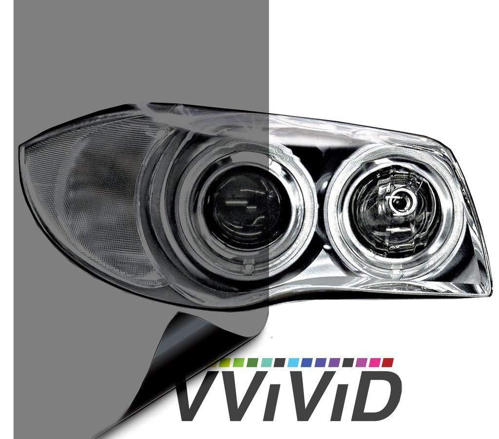 VViViD Air-Tint Smoke Black Gloss Vinyl Headlight Foglight Transparent Tint Wrap Self-Adhesive (16 Inch x 48 Inch, 2-roll Pack)