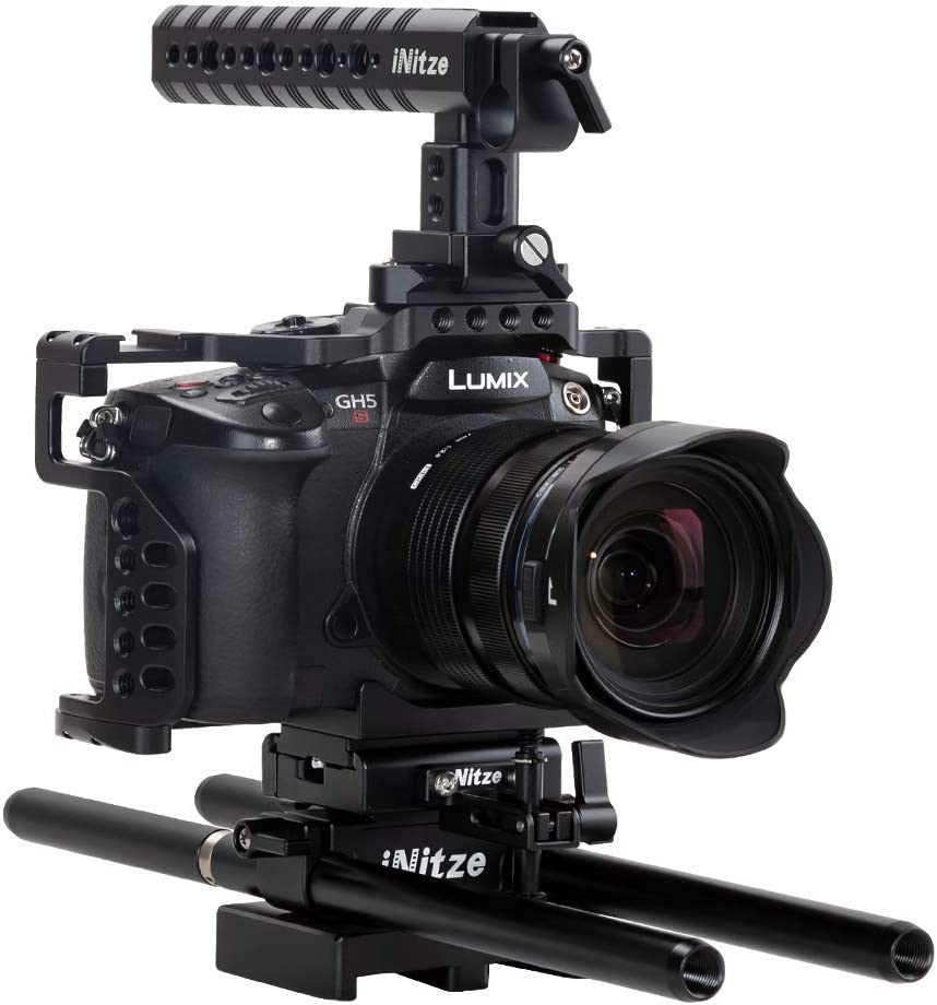 TP11 Locating Holes and HDMI Cable Clamp NITZE Gh5//Gh5s Camera Cage for Panasonic Lumix with Cold Shoe