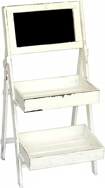 THE WELLY HOME Expositor estantería Tipo Escalera. Color Blanco decapado con Pizarra Decorativa. Dos tamaños Disponibles, Grande con 3 estantes y pequeño con 2 estantes. (Pequeño): Amazon.es: Hogar