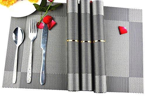 Fold Da Mat - Placemats,Set of 8 AAndrea Heat-resistant Place mats,Non-slip Washable PVC Round Table Mats Woven Vinyl Placemat,12x18
