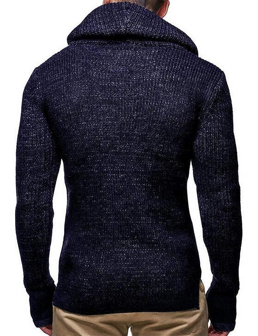 KXP Men Knitted Turtleneck Drawstring Warm Winter Pullover Jumper Sweaters