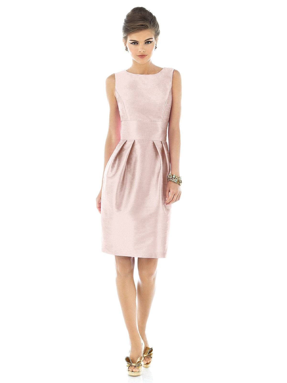 Women's Sleeveless Cocktail Length Dress with Large Bow by Alfred Sung - Pearl Pink - Size 10