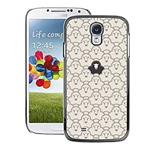 A-type Arte & diseño plástico duro Fundas Cover Cubre Hard Case Cover para Samsung Galaxy S4 (Black Sheep Pattern Clever Funny Meaning)