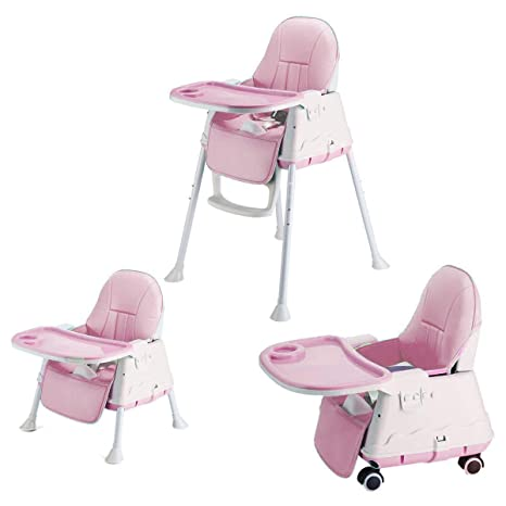 Astounding Syga High Chair For Baby Kids Safety Toddler Feeding Booster Seat Dining Table Chair With Wheel And Cushion Pink Andrewgaddart Wooden Chair Designs For Living Room Andrewgaddartcom
