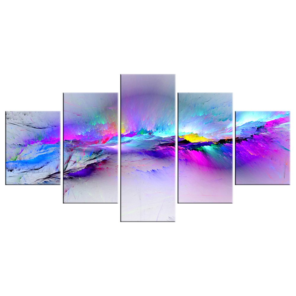 Wieco Art Changing Colors Large Canvas Prints Wall Art Purple Abstract Landscape Pictures Paintings for Bedroom Living Room Home Decorations 5 Piece Modern Stretched and Framed Grace Giclee Artwork