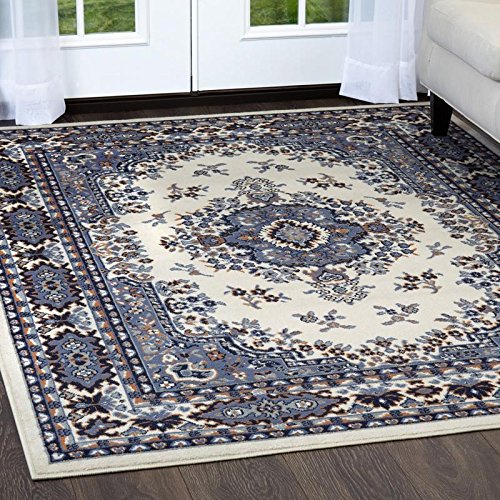 - Home Dynamix Premium Sakarya Area Rug by Traditional Persian-Inspired Accent Rug | Stylish Medallion Print and Classic Boarder Design | Shades of Blue, Cream, Brown and Gray 21